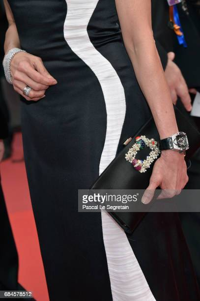 Actress Michelle Yeoh fashion detail attends the 'Loveless ' screening during the 70th annual Cannes Film Festival at Palais des Festivals on May 18...