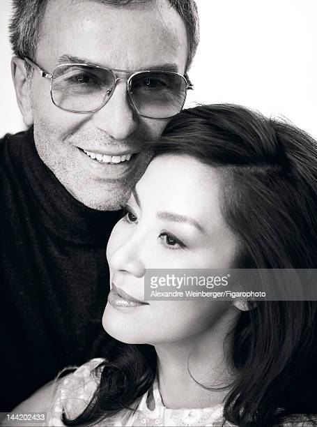 Actress Michelle Yeoh is photographed with makeup artist Olivier Echaudemain for Madame Figaro on March 19 2012 in Paris France PUBLISHED IMAGE...