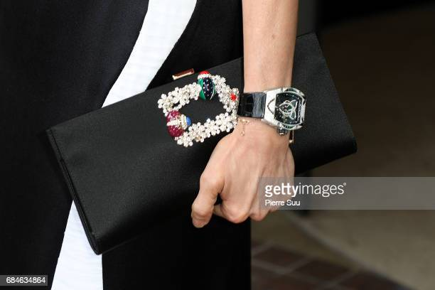 Actress Michelle Yeohhandbag and 'Richard Mille' watch is spotted arriving at the 'Majestic' hotel during the 70th annual Cannes Film Festival at on...
