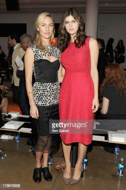 Actress Mickey Sumner and actress Alexandra Daddario attend the Peter Som Spring 2014 fashion show during MercedesBenz Fashion Week at Milk Studios...