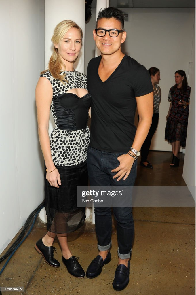 Actress Mickey Sumner and designer Peter Som pose backstage at the Peter Som Spring 2014 fashion show during Mercedes-Benz Fashion Week at Milk Studios on September 6, 2013 in New York City.