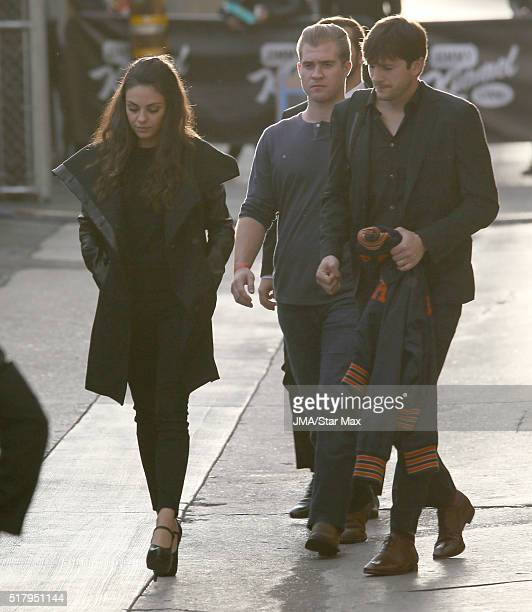 Actress Mila Kunis and actor Ashton Kutcher are seen at 'Jimmy Kimmel Live' on March 28 2016 in Los Angeles California
