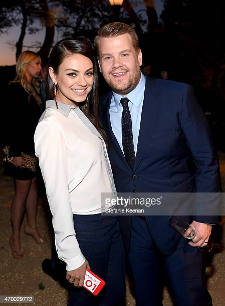 Actress Mila Kunis and tv personality James Corden attend the Burberry 'London in Los Angeles' event at Griffith Observatory on April 16 2015 in Los...