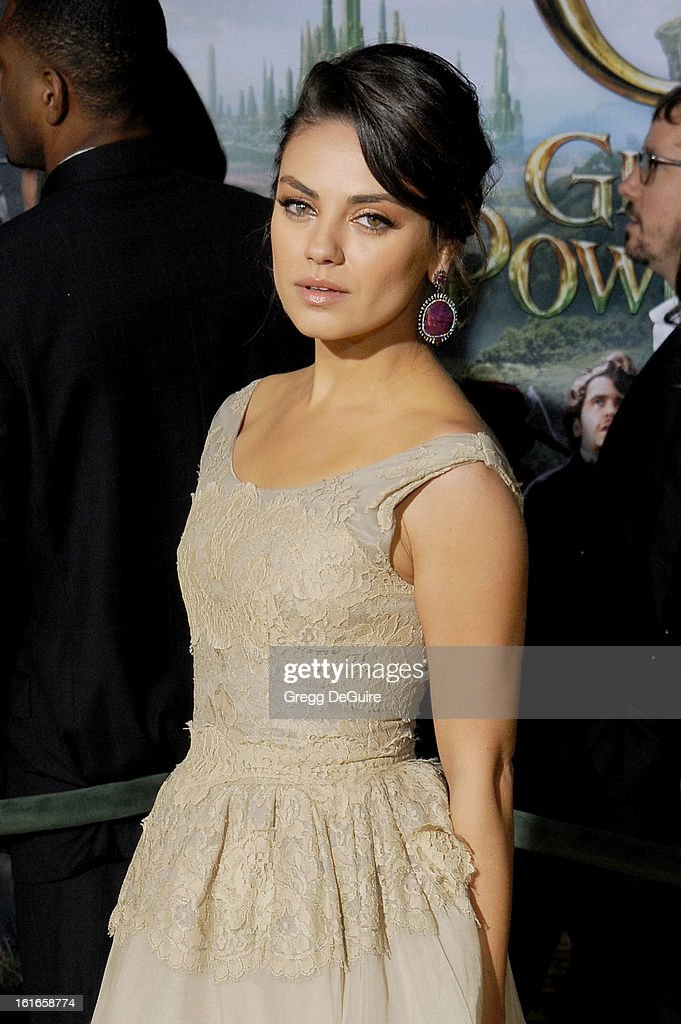 Actress Mila Kunis arrives at the Los Angeles premiere of 'Oz The Great and Powerful' at the El Capitan Theatre on February 13, 2013 in Hollywood, California.