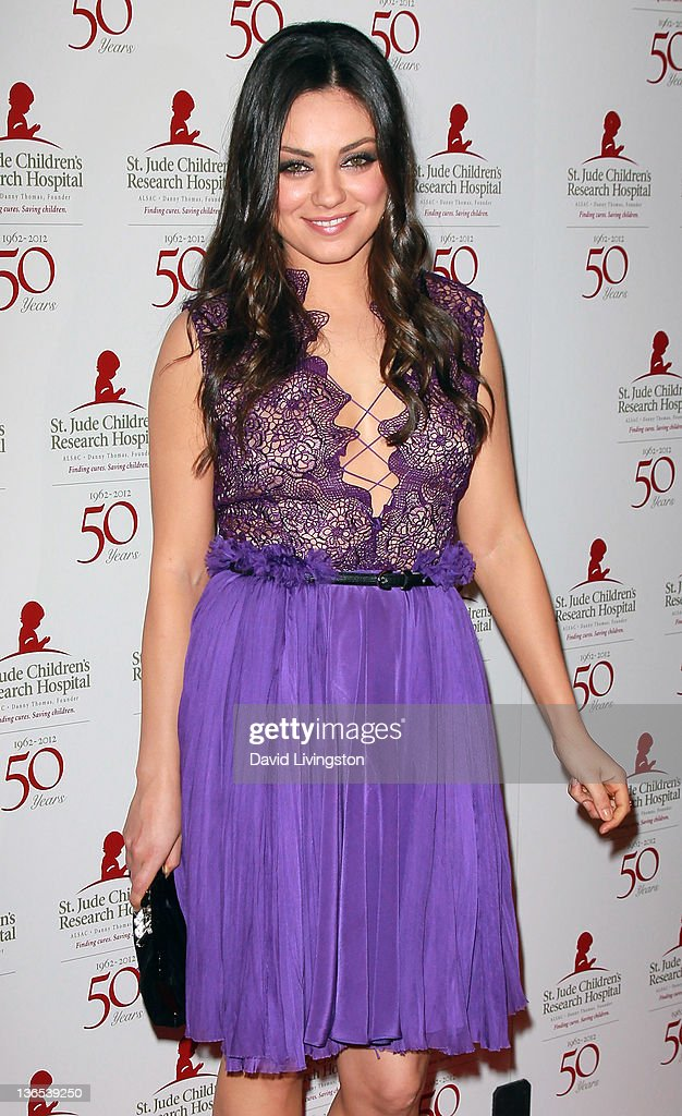 Actress <a gi-track='captionPersonalityLinkClicked' href=/galleries/search?phrase=Mila+Kunis&family=editorial&specificpeople=212845 ng-click='$event.stopPropagation()'>Mila Kunis</a> attends the 50th anniversary celebration for St. Jude Children's Research Hospital at The Beverly Hilton hotel on January 7, 2012 in Beverly Hills, California.