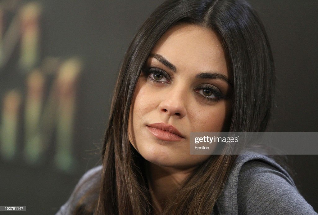 Actress <a gi-track='captionPersonalityLinkClicked' href=/galleries/search?phrase=Mila+Kunis&family=editorial&specificpeople=212845 ng-click='$event.stopPropagation()'>Mila Kunis</a> is seen during a press conference before Walt Disney Pictures Moscow premiere of 'Oz The Great And Powerful' at the roof of Ritz hotel on February 27, 2013 in Moscow, Russia.