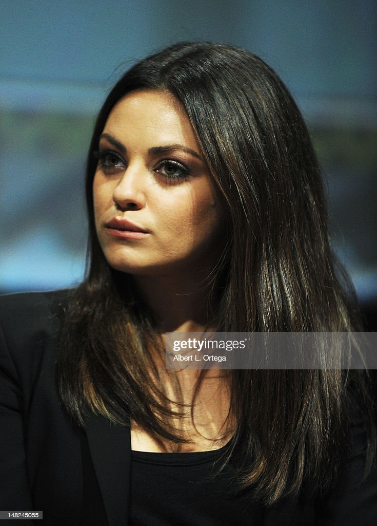 Actress <a gi-track='captionPersonalityLinkClicked' href=/galleries/search?phrase=Mila+Kunis&family=editorial&specificpeople=212845 ng-click='$event.stopPropagation()'>Mila Kunis</a> 'FrankenWeenie,' 'Oz The Great And Powerful' and 'Wreck It Ralph' Panels during Comic-Con International 2012 at San Diego Convention Center on July 12, 2012 in San Diego, California.