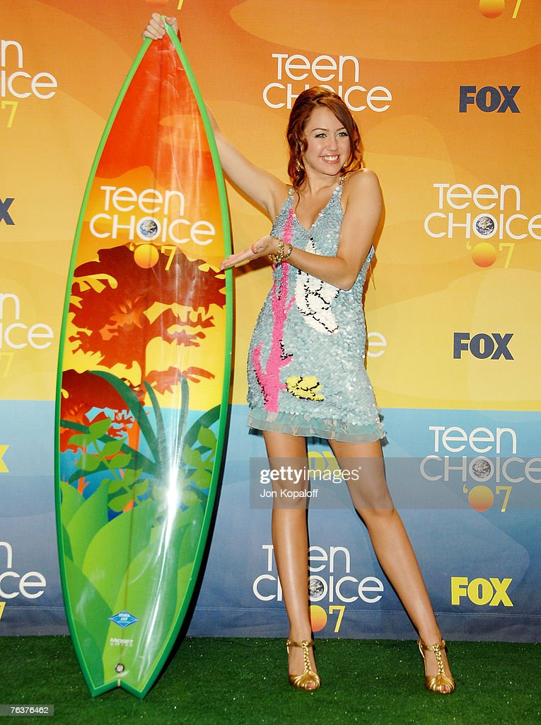 Actress Miley Cyrus at the 2007 Teen Choice Awards at the Gibson Amphitheater on August 26, 2007 in Universal City, California.