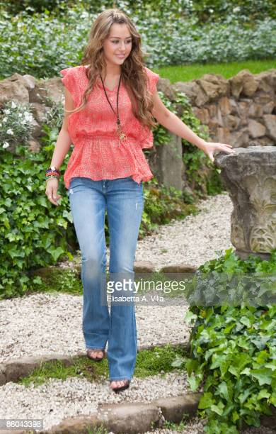 Actress Miley Cyrus attends 'Hannah MontanaThe Movie' photocall at De Russie Hotel on April 20 2009 in Rome Italy
