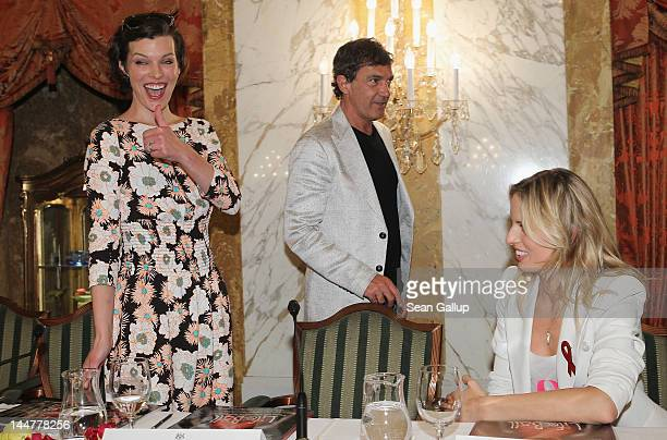 Actress Milla Jovovich actor Antonio Banderas and model Karolina Kurkova attend the Life Ball 2012 press conference on May 19 2012 in Vienna Austria