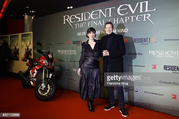 Actress Milla Jovovich and her husband director Paul W S Anderson attend the 'Resident Evil The Final Chapter' Premiere in Berlin at CineStar on...