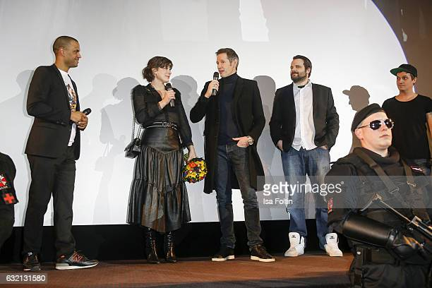 US actress Milla Jovovich and her husband producer Paul W S Anderson and Gronkh attend the Social Movie Night At 'Resident Evil The Final Chapter'...