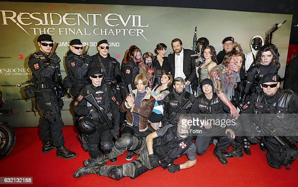 US actress Milla Jovovich and youtube star and games producer Gronkh with Resident Evil figures during the Social Movie Night At 'Resident Evil The...