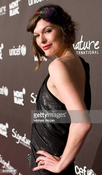 Actress Milla Jovovich arrives at Montblanc 'Signature for Good' Charity Gala at Paramount Studios on February 20 2009 in Los Angeles California