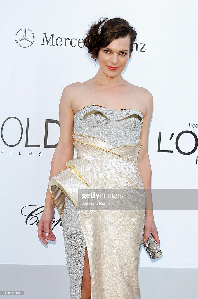 Actress <a gi-track='captionPersonalityLinkClicked' href=/galleries/search?phrase=Milla+Jovovich&family=editorial&specificpeople=202207 ng-click='$event.stopPropagation()'>Milla Jovovich</a> arrives at the 2012 amfAR's Cinema Against AIDS during the 65th Annual Cannes Film Festival at Hotel Du Cap on May 24, 2012 in Cap D'Antibes, France.