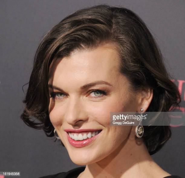 Actress Milla Jovovich arrives at the Los Angeles premiere of 'Resident Evil Retribution' at Regal Cinemas LA Live on September 12 2012 in Los...