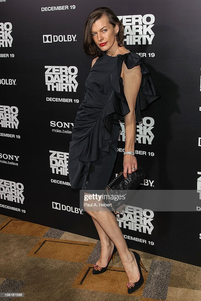 Actress Milla Jovovich arrives at the premiere of Columbia Pictures' 'Zero Dark Thirty' held at the Dolby Theatre on December 10, 2012 in Hollywood, California.