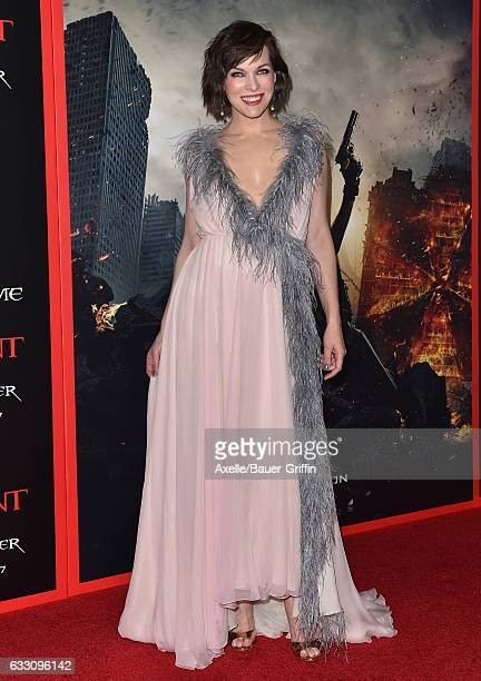 Actress Milla Jovovich arrives at the premiere of Sony Pictures Releasing's 'Resident Evil The Final Chapter' at Regal LA Live A Barco Innovation...