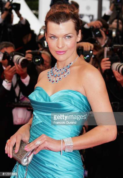 Actress Milla Jovovich arrives for the Palme d'Or Closing Ceremony at the Palais des Festivals during the 61st International Cannes Film Festival on...