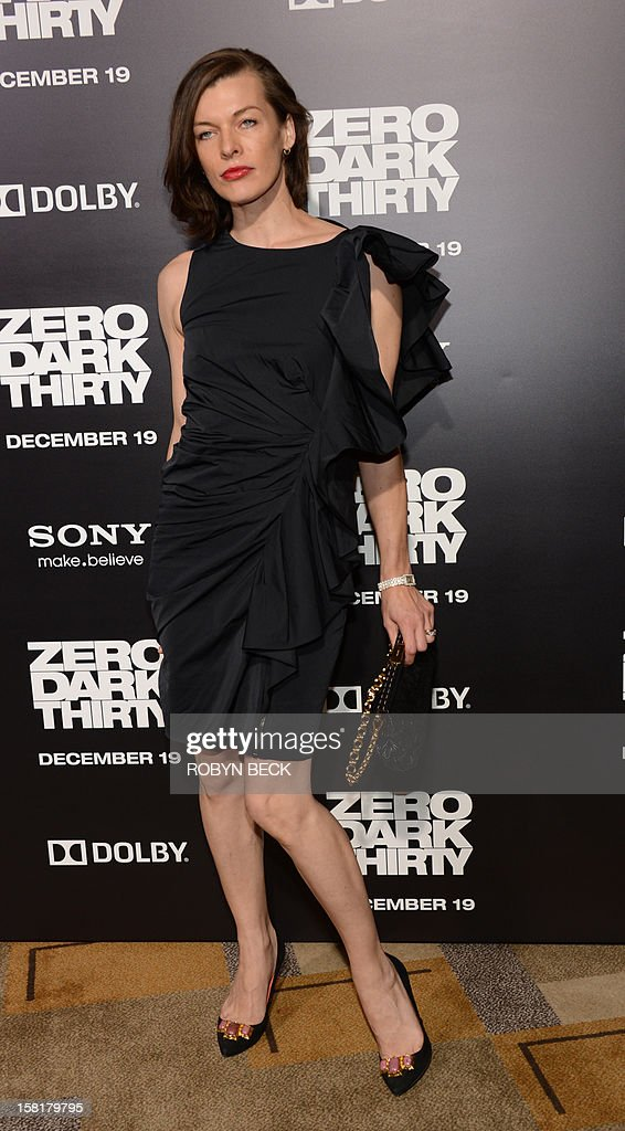 Actress Milla Jovovich arrives for the premiere of Columbia Pictures' 'Zero Dark Thirty' at the Dolby Theater in Hollywood, California, December 10, 2012