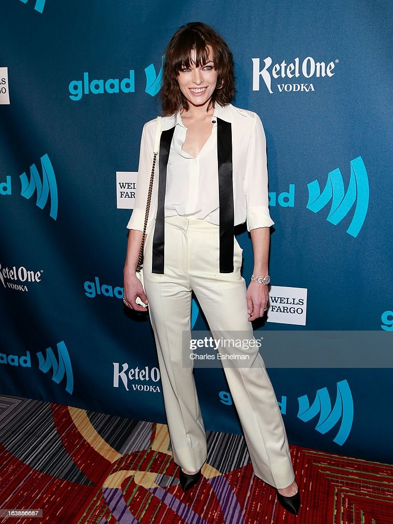 Actress Milla Jovovich attends the 24th annual GLAAD Media awards at The New York Marriott Marquis on March 16, 2013 in New York City.