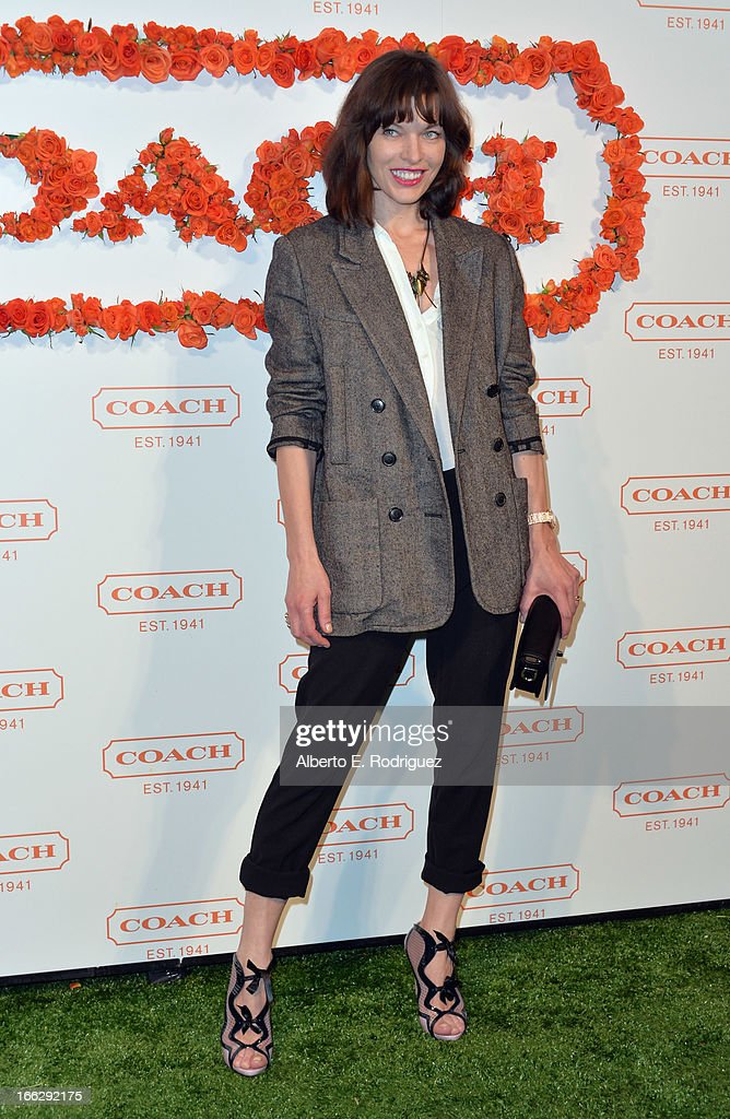 Actress <a gi-track='captionPersonalityLinkClicked' href=/galleries/search?phrase=Milla+Jovovich&family=editorial&specificpeople=202207 ng-click='$event.stopPropagation()'>Milla Jovovich</a> attends the 3rd Annual Coach Evening to benefit Children's Defense Fund at Bad Robot on April 10, 2013 in Santa Monica, California.