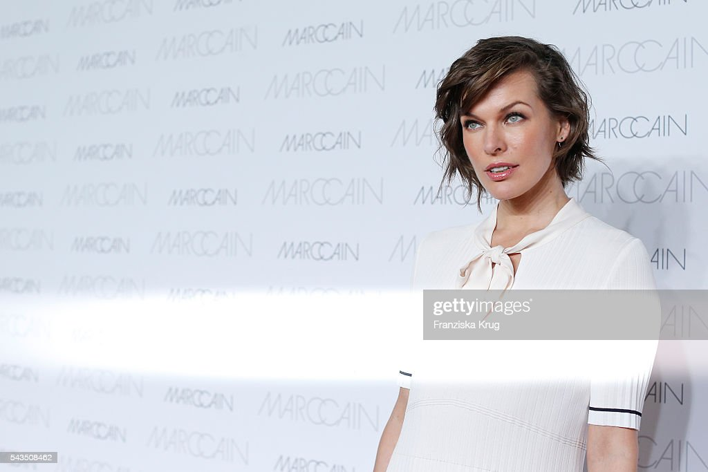 US actress <a gi-track='captionPersonalityLinkClicked' href=/galleries/search?phrase=Milla+Jovovich&family=editorial&specificpeople=202207 ng-click='$event.stopPropagation()'>Milla Jovovich</a> attends the Marc Cain show spring/summer 2017 at CITY CUBE Panorama Bar on June 28, 2016 in Berlin, Germany.