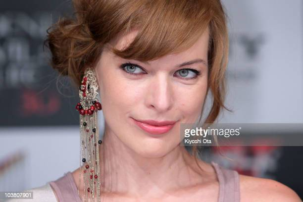 Actress Milla Jovovich attends the press conference for 'Resident Evil Afterlife' at Grand Hyatt Tokyo on September 3 2010 in Tokyo Japan The film...