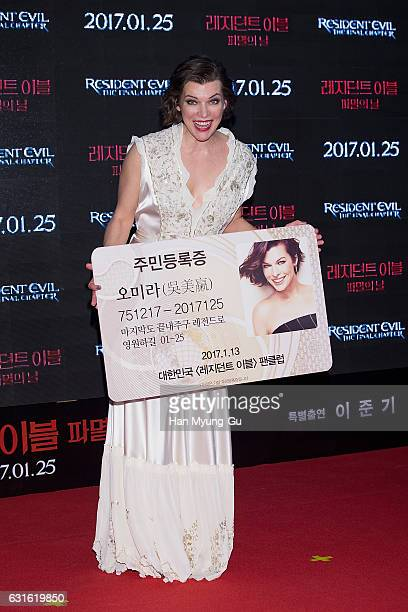 Actress Milla Jovovich attends the Seoul premiere for 'Resident Evil The Final Chapter' on January 13 2017 in Seoul South Korea The film will open on...