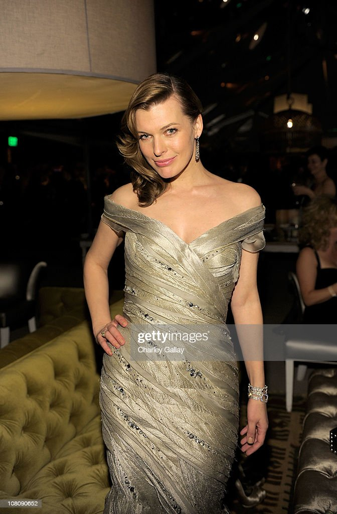 Actress <a gi-track='captionPersonalityLinkClicked' href=/galleries/search?phrase=Milla+Jovovich&family=editorial&specificpeople=202207 ng-click='$event.stopPropagation()'>Milla Jovovich</a> attends The Weinstein Company and Relativity Media's 2011 Golden Globe After Awards Party presented by Marie Claire held at The Beverly Hilton hotel on January 16, 2011 in Beverly Hills, California.