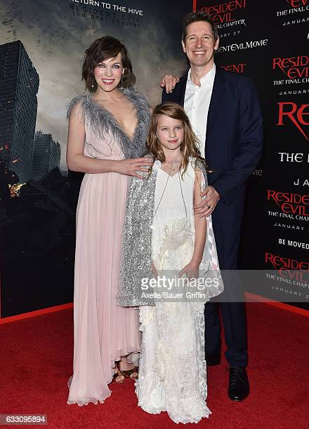 Actress Milla Jovovich husband director Paul WS Anderson and daughter Ever Anderson arrive at the premiere of Sony Pictures Releasing's 'Resident...