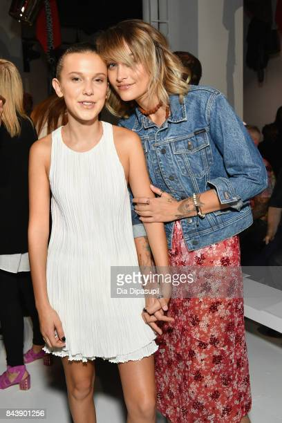 Actress Millie Bobby Brown and Paris Jackson attend the Calvin Klein Collection fashion show during New York Fashion Week on September 7 2017 in New...