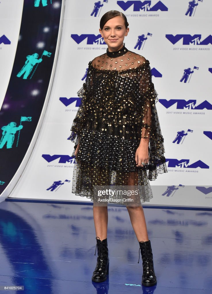 Actress Millie Bobby Brown arrives at the 2017 MTV Video Music Awards at The Forum on August 27, 2017 in Inglewood, California.