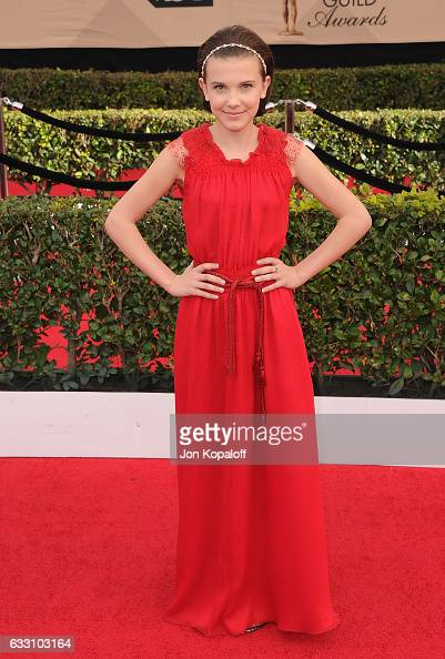 Actress Millie Bobby Brown arrives at the 23rd Annual Screen Actors Guild Awards at The Shrine Expo Hall on January 29 2017 in Los Angeles California