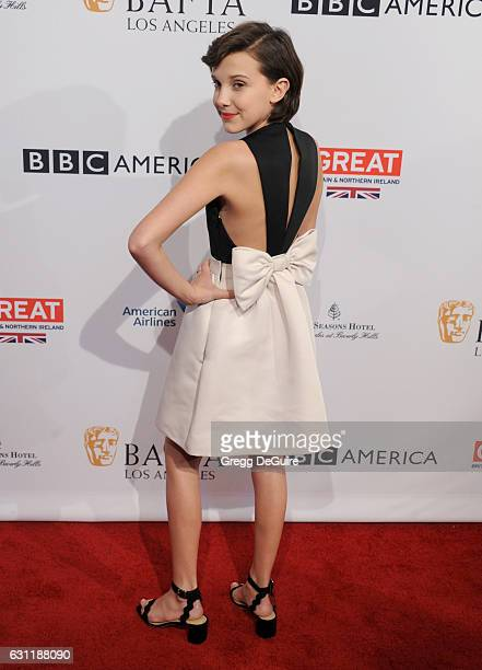 Actress Millie Bobby Brown arrives at The BAFTA Tea Party at Four Seasons Hotel Los Angeles at Beverly Hills on January 7 2017 in Los Angeles...
