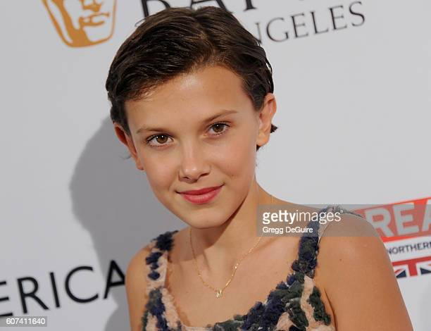 Actress Millie Bobby Brown arrives at the BBC America BAFTA Los Angeles TV Tea Party at The London Hotel on September 17 2016 in West Hollywood...