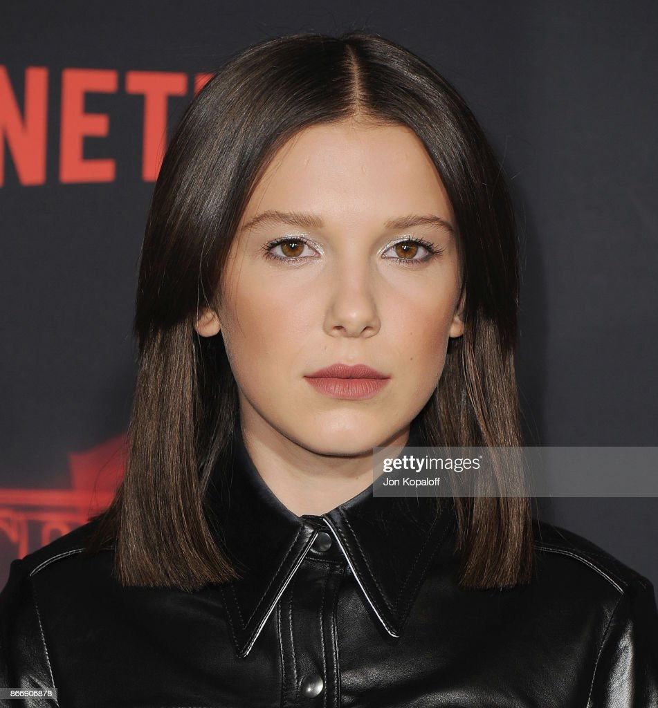 Actress Millie Bobby Brown arrives at the premiere of Netflix's 'Stranger Things' Season 2 at Regency Bruin Theatre on October 26, 2017 in Los Angeles, California.