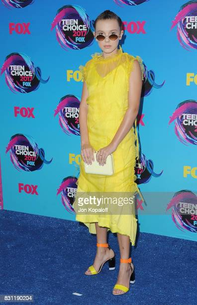 Actress Millie Bobby Brown arrives at the Teen Choice Awards 2017 at Galen Center on August 13 2017 in Los Angeles California