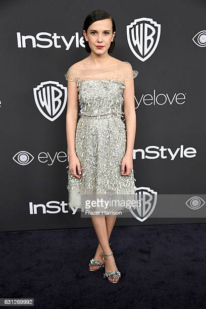 Actress Millie Bobby Brown attends the 18th Annual PostGolden Globes Party hosted by Warner Bros Pictures and InStyle at The Beverly Hilton Hotel on...