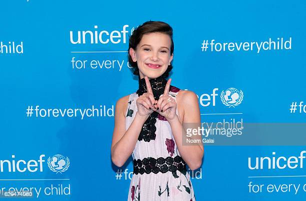 Actress Millie Bobby Brown attends UNICEF's 70th anniversary event at United Nations Headquarters on December 12 2016 in New York City