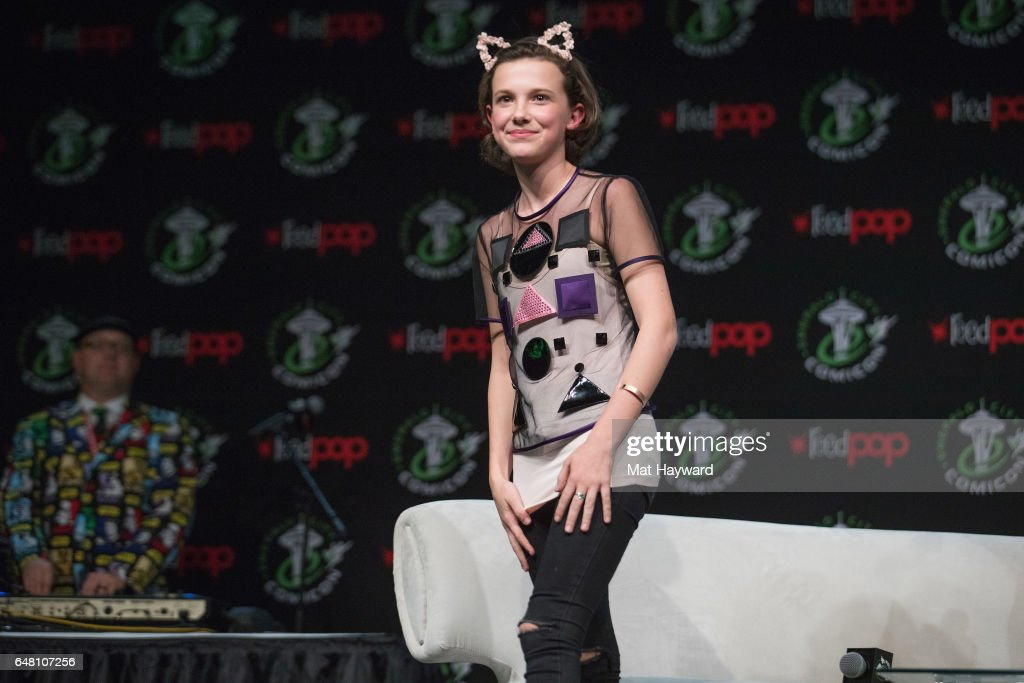 Actress Millie Bobby Brown speaks on stage during Emerald City Comic Con at Washington State Convention Center on March 4, 2017 in Seattle, Washington.