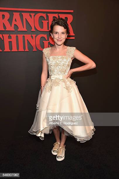 Actress Millie Brown attends the Premiere of Netflix's 'Stranger Things' at Mack Sennett Studios on July 11 2016 in Los Angeles California