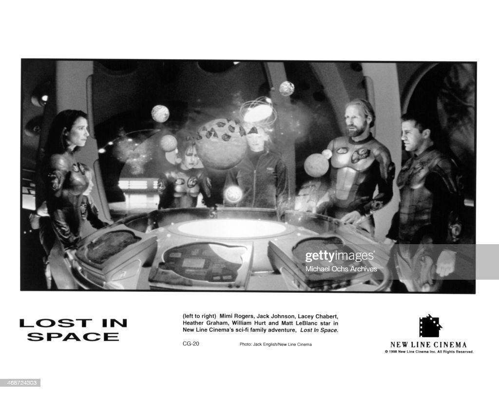 Actress Mimi Rogers, actor Jack Johnson, actress Lacey Chabert, actress Heather Graham, actor William Hurt and actor Matt LeBlanc on set of the New Line Cinema movie ' Lost in Space ' , circa 1998.