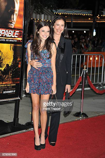 Actress Mimi Rogers and daughter arrive at the premiere of 'Unstoppable' held at the Regency Village Theater in Westwood