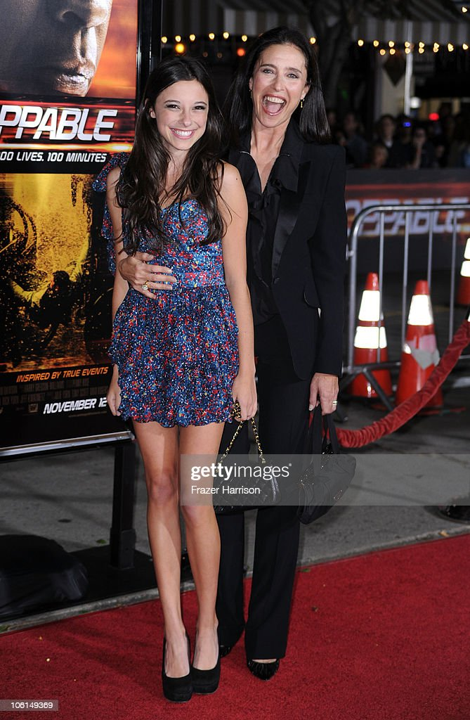 Actress Mimi Rogers and daughter Lucy arrives at the premiere of Twentieth Century Fox's 'Unstoppable' at Regency Village Theater on October 26, 2010 in Westwood, California.