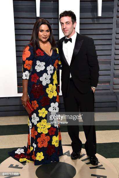 Actress Mindy Kaling and actor B J Novak attend the 2017 Vanity Fair Oscar Party hosted by Graydon Carter at Wallis Annenberg Center for the...