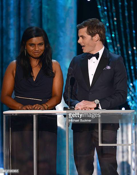 Actress Mindy Kaling and actor James Marsden speak onstage during 20th Annual Screen Actors Guild Awards at The Shrine Auditorium on January 18 2014...