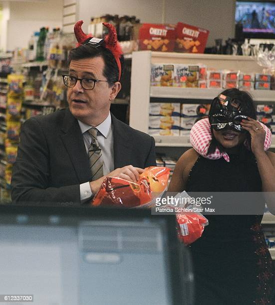 Actress Mindy Kaling and Stephen Colbert are seen on October 3 2016 in New York City