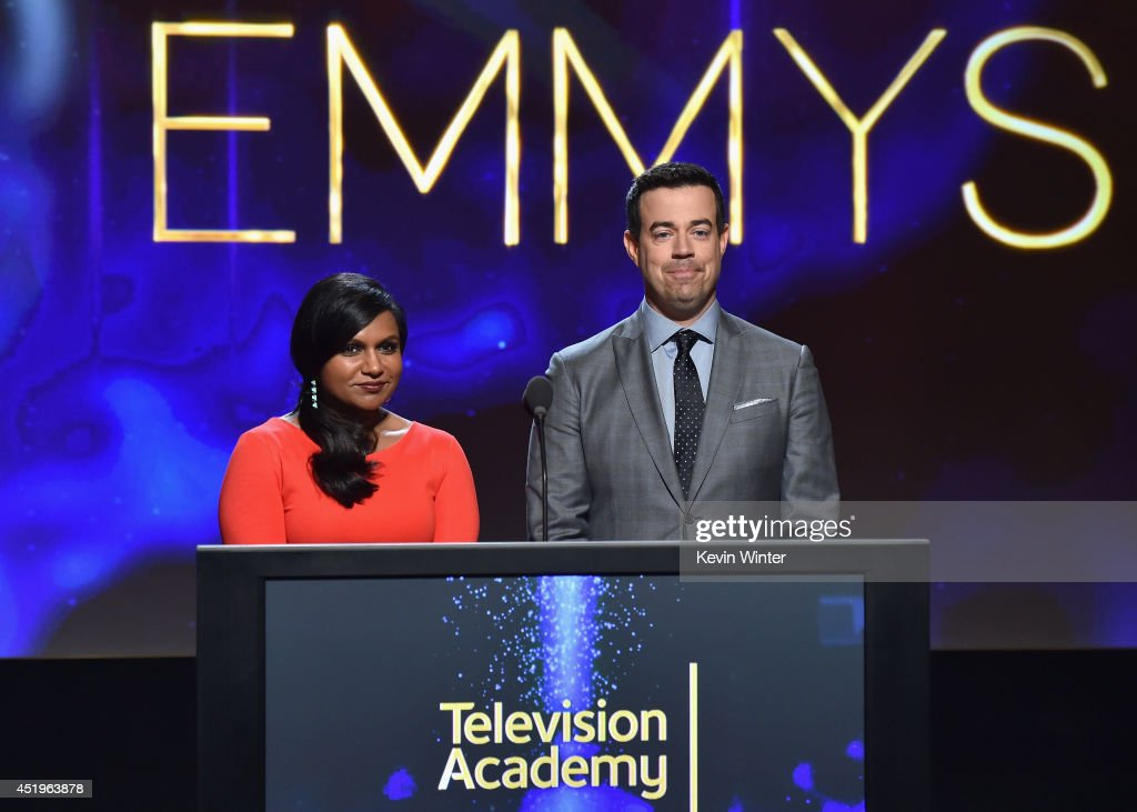 Actress <a gi-track='captionPersonalityLinkClicked' href=/galleries/search?phrase=Mindy+Kaling&family=editorial&specificpeople=743884 ng-click='$event.stopPropagation()'>Mindy Kaling</a> and tv personality <a gi-track='captionPersonalityLinkClicked' href=/galleries/search?phrase=Carson+Daly&family=editorial&specificpeople=202941 ng-click='$event.stopPropagation()'>Carson Daly</a> speak onstage at the 66th Primetime Emmy Awards Nominations at Leonard H. Goldenson Theatre on July 10, 2014 in North Hollywood, California.
