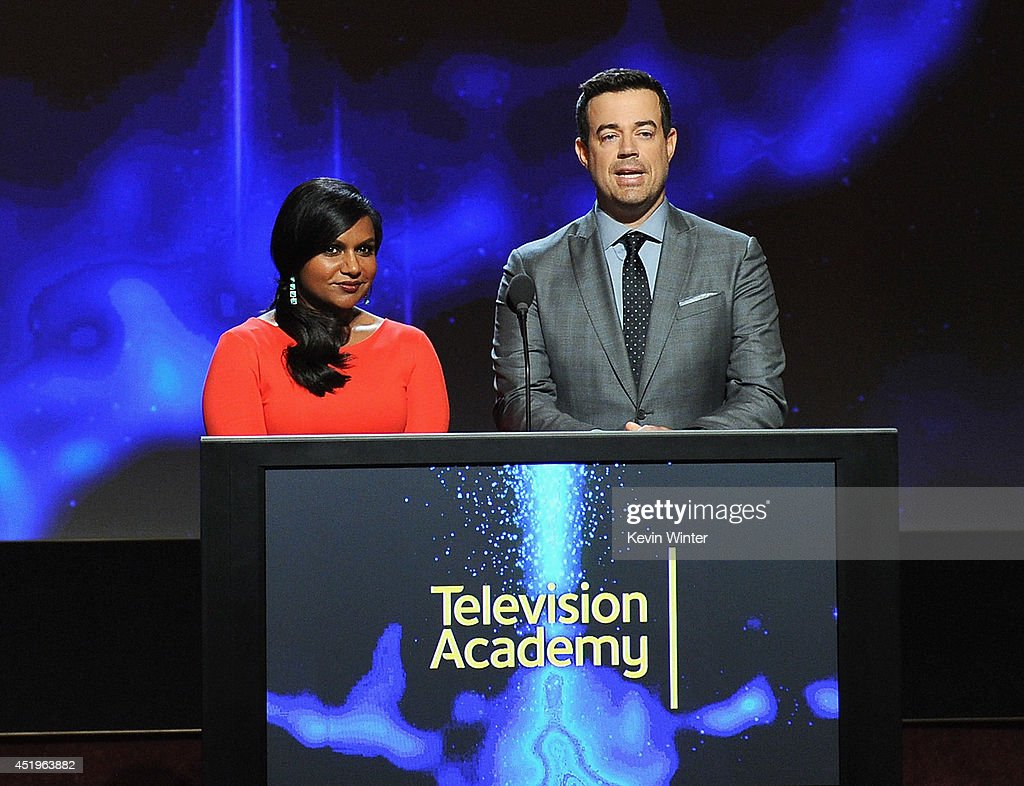 Actress Mindy Kaling and tv personality Carson Daly speak onstage at the 66th Primetime Emmy Awards Nominations at Leonard H. Goldenson Theatre on July 10, 2014 in North Hollywood, California.